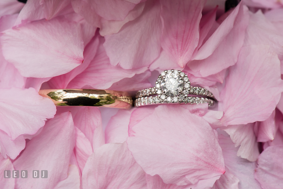 Kent Manor Inn wedding ring and band with diamond engagement ring photo by Leo Dj Photography