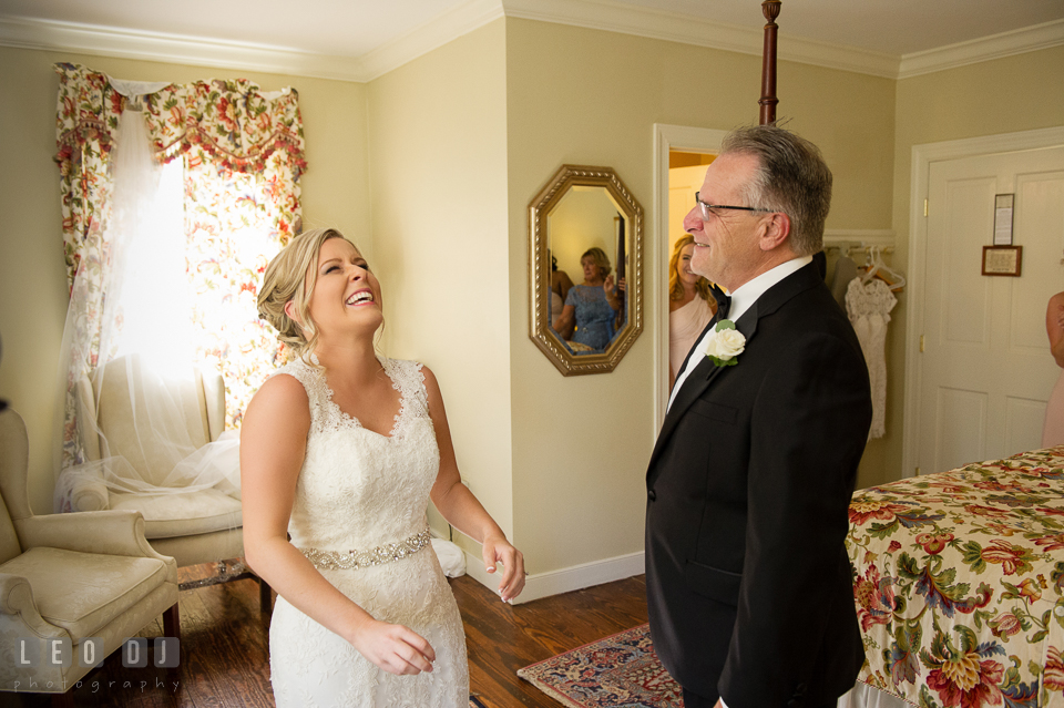 Kent Manor Inn bride laughing during first look with Father photo by Leo Dj Photography