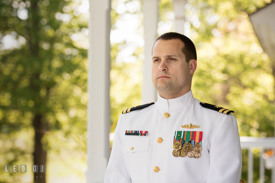 Kent Manor Inn groom in Navy uniform waiting for Bride for first look photo by Leo Dj Photography