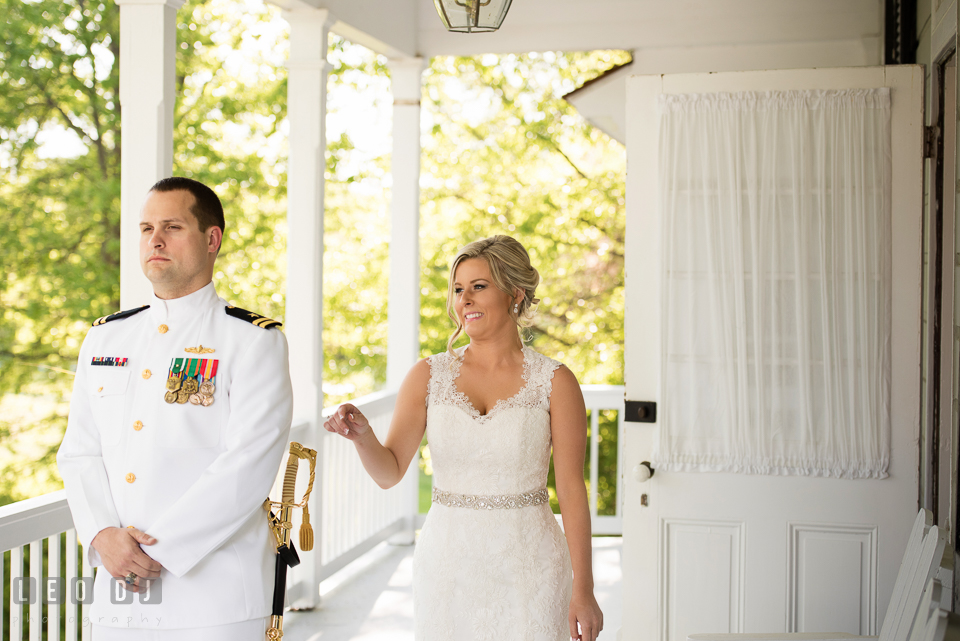 Kent Island Maryland wedding bride walking to groom first look photo by Leo Dj Photography