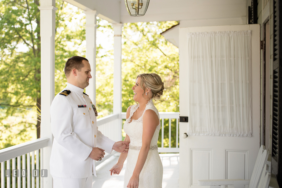 Eastern Shore Maryland wedding bride seeing groom during first look photo by Leo Dj Photography