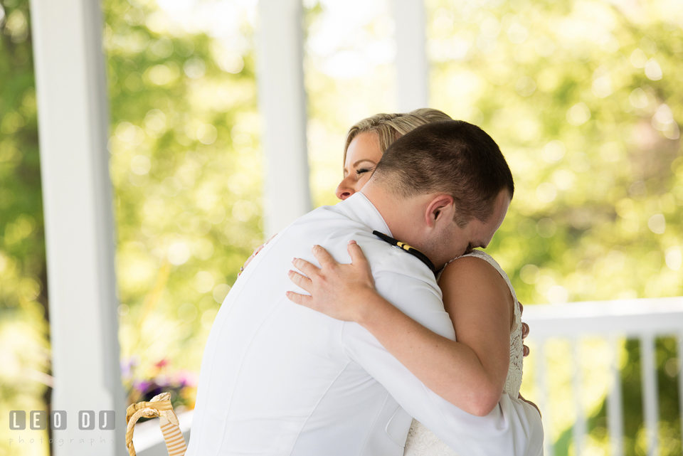 Kent Island Maryland wedding bride and groom hugging during first look photo by Leo Dj Photography