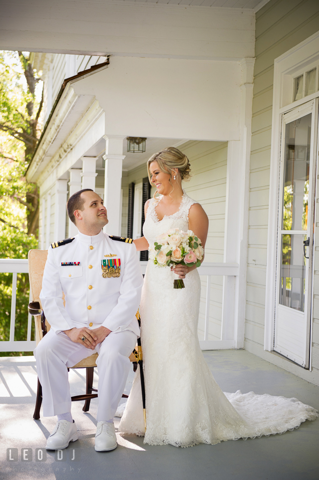 Eastern Shore Maryland wedding bride and groom posing first look photo by Leo Dj Photography