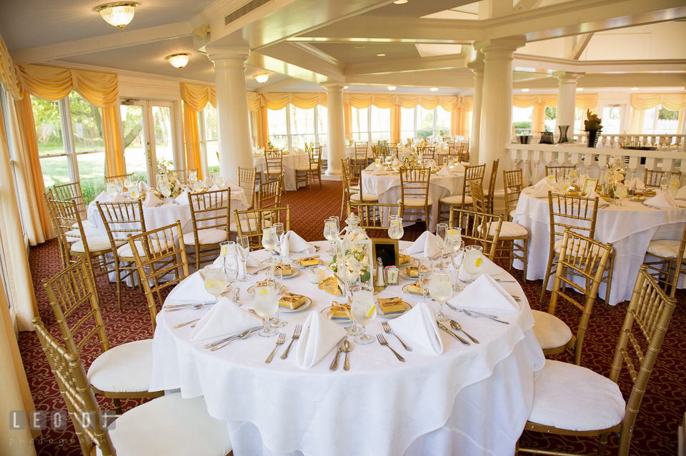 Kent Manor Inn wedding reception ballroom table setting in the Garden House photo by Leo Dj Photography