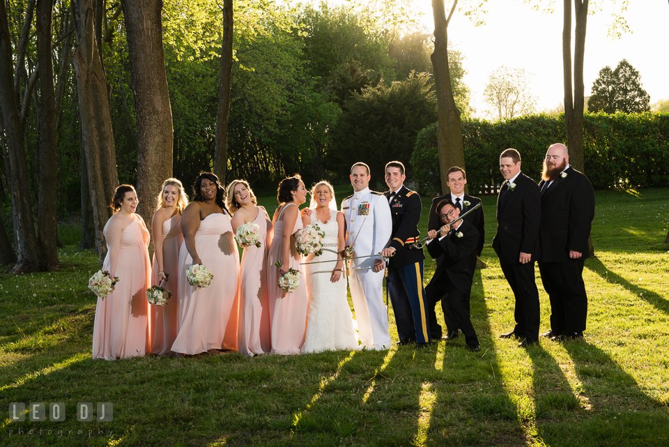 Kent Manor Inn wedding party doing goofy pose with bride and groom photo by Leo Dj Photography
