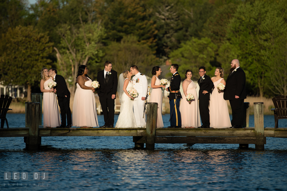 Kent Manor Inn bride and groom with bridesmaids and groomsman on the dock over the water photo by Leo Dj Photography