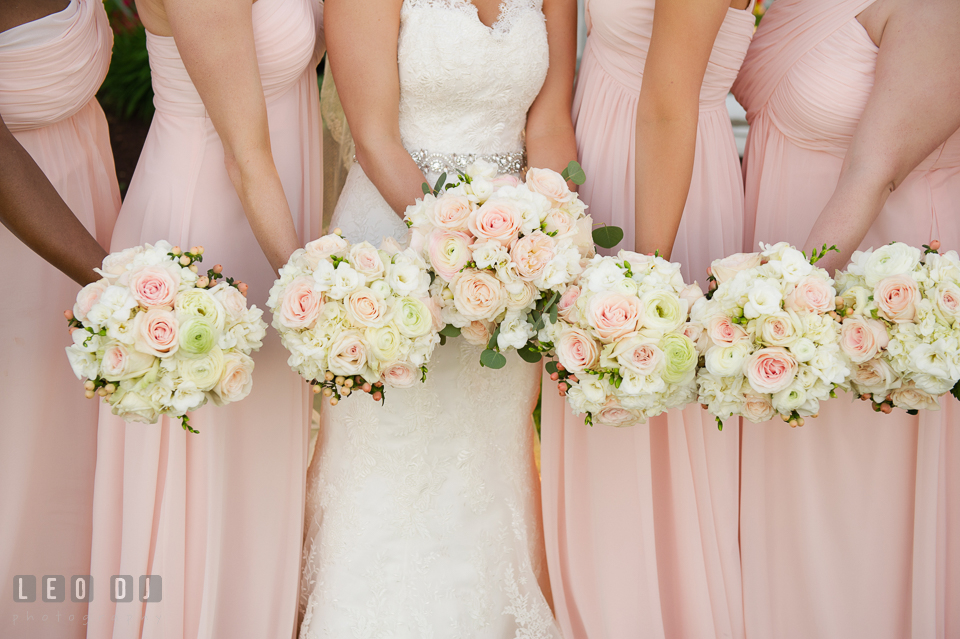 Kent Manor Inn stunning pastel rose bouquets for the Bride and Bridesmaids by Cache Fleur photo by Leo Dj Photography