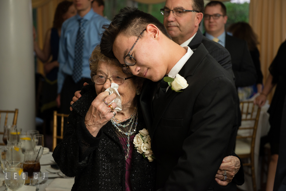 Eastern Shore Maryland grandmother crying seeing bride and groom first dance at wedding reception photo by Leo Dj Photography