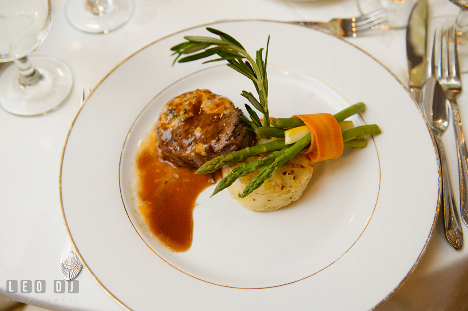 Kent Manor Inn catering delicious steak and crab cake entree wedding dinner menu photo by Leo Dj Photography