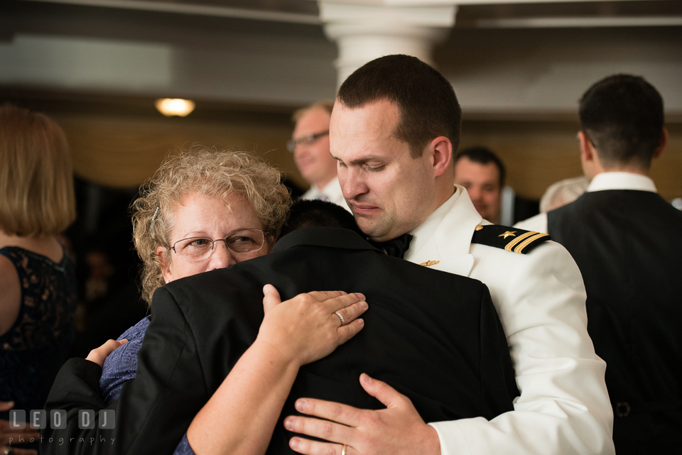 Eastern Shore Maryland mother of groom hugging son at wedding reception photo by Leo Dj Photography