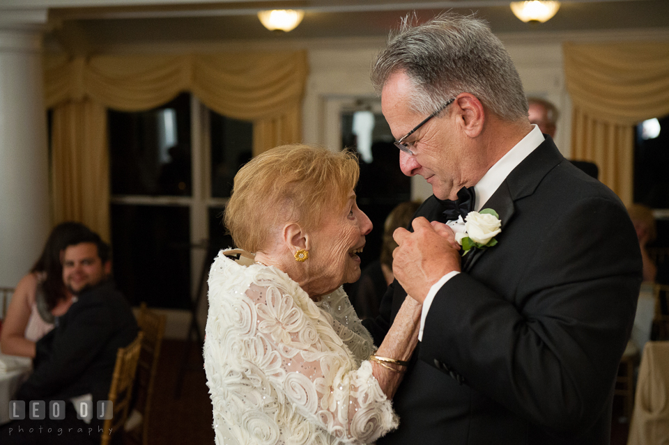 Kent Island Maryland Father and Grandmother of Bride dancing at wedding reception photo by Leo Dj Photography