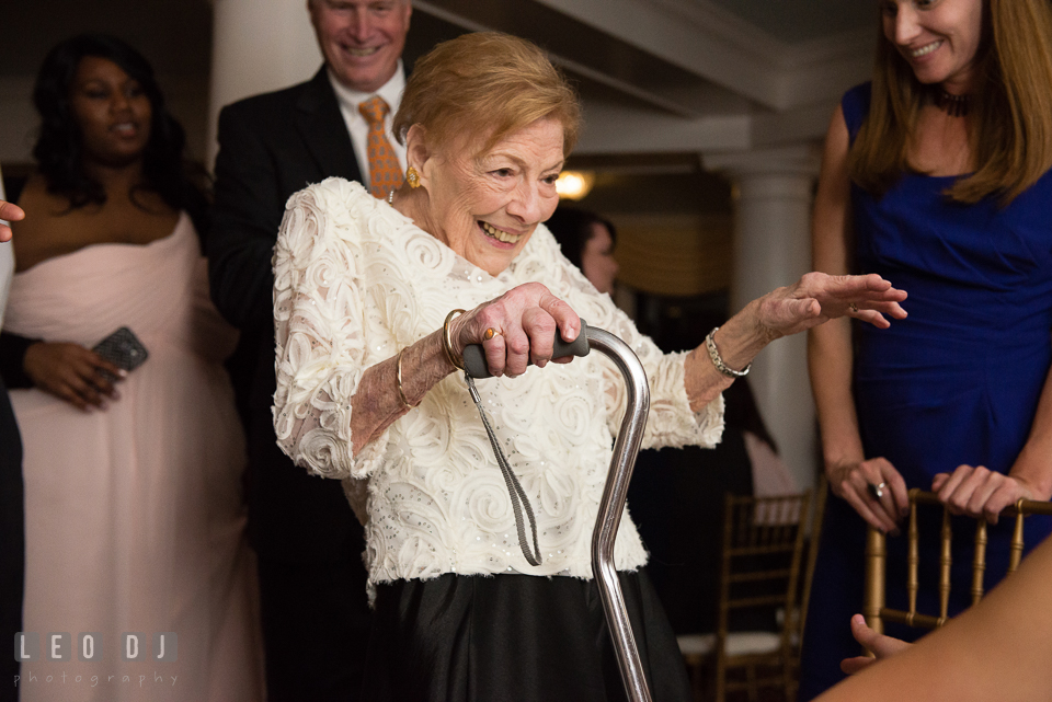 Eastern Shore Maryland grandmother dancing to music by Crow Entertainment DJ at wedding reception photo by Leo Dj Photography