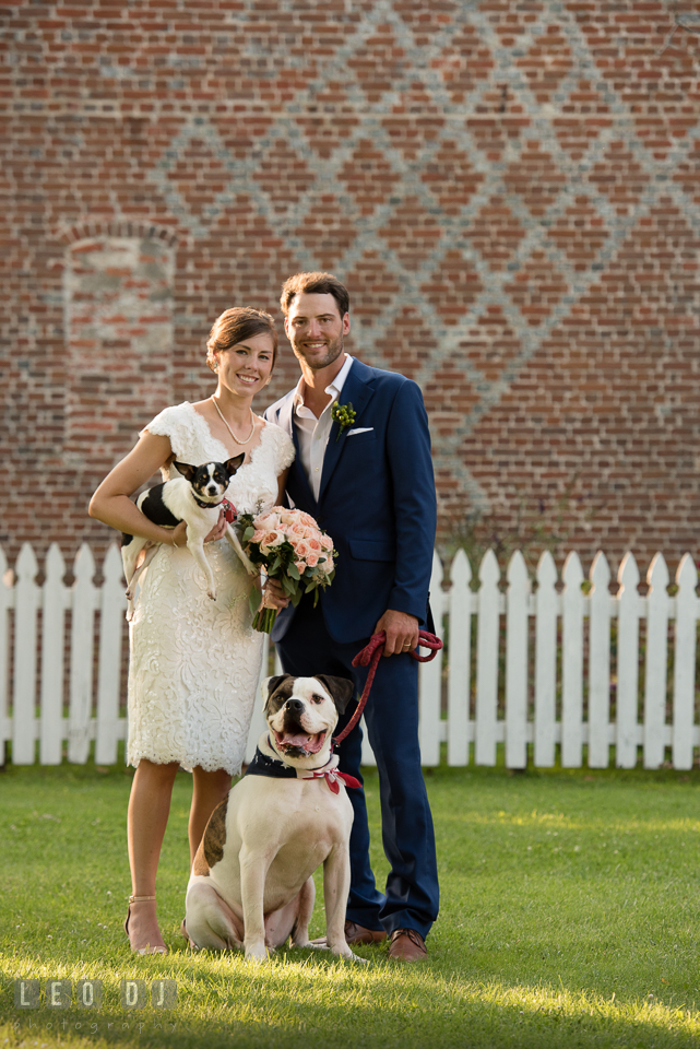 Bride and Groom posing with their dogs. The Oaks Waterfront Inn wedding, St Michaels, Eastern Shore, Maryland, by wedding photographers of Leo Dj Photography. http://leodjphoto.com