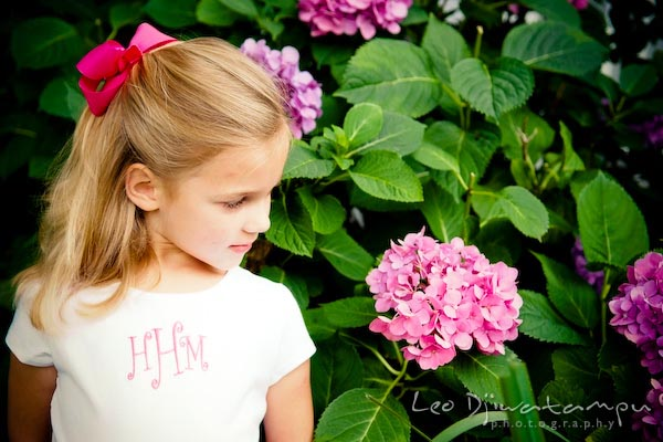 girl looking at hydrangea flower. Children family reunion birthday photography Tilghman Island Annapolis Kent Island Eastern Shore MD