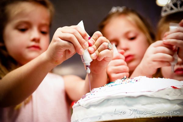 girl adding color to cake. Children family reunion birthday photography Tilghman Island Annapolis Kent Island Eastern Shore MD