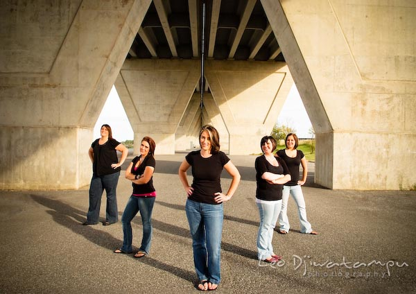 Five ladies posing under highway overpass, bridge. Commercial work photography Annapolis Eastern Shore MD Washington DC