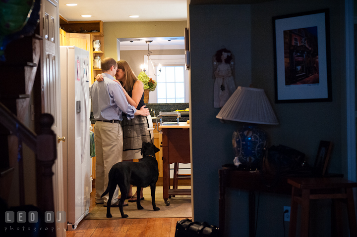 Engaged couple cuddling in the kitchen. Dog looking at them. Engagement photo session at town home near Federal Hill Baltimore Maryland by wedding photographers of Leo Dj Photography (http://leodjphoto.com)
