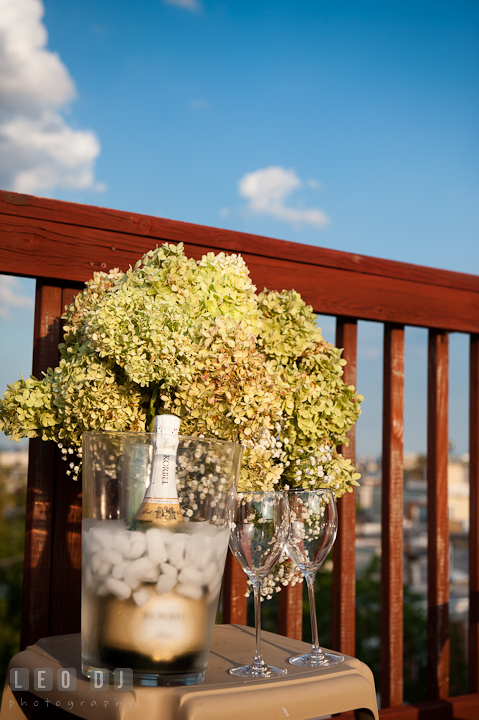 Flower bouquet, champagne, and glasses for celebration at rooftop deck. Engagement photo session at town home near Federal Hill Baltimore Maryland by wedding photographers of Leo Dj Photography (http://leodjphoto.com)
