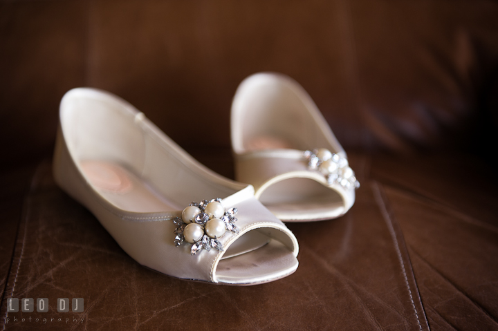 Bride's wedding shoes. Getting ready and ceremony wedding photos at private estate at Preston, Easton, Eastern Shore, Maryland by photographers of Leo Dj Photography. http://leodjphoto.com