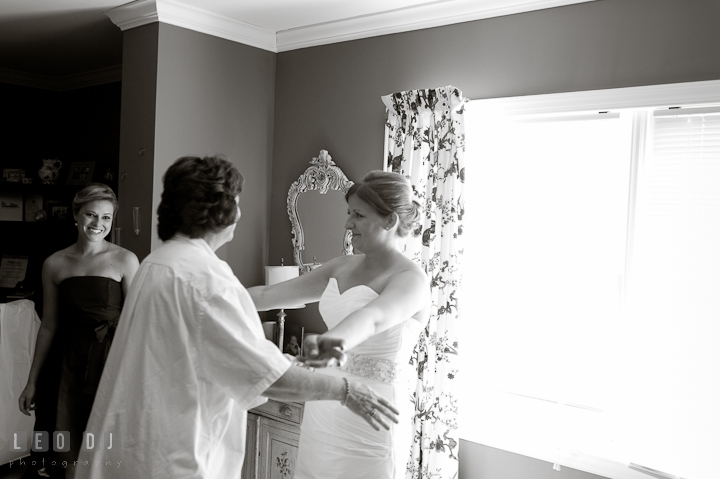 Mother of Bride happy to see her daughter. Getting ready and ceremony wedding photos at private estate at Preston, Easton, Eastern Shore, Maryland by photographers of Leo Dj Photography. http://leodjphoto.com