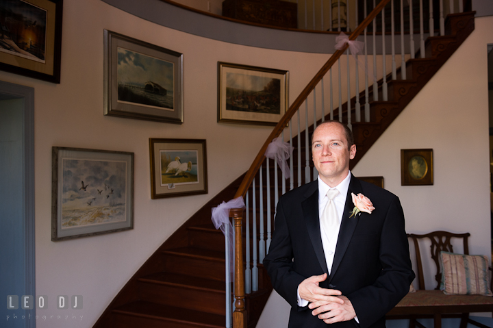 Groom anxiously waiting for Bride during first glance. Getting ready and ceremony wedding photos at private estate at Preston, Easton, Eastern Shore, Maryland by photographers of Leo Dj Photography. http://leodjphoto.com