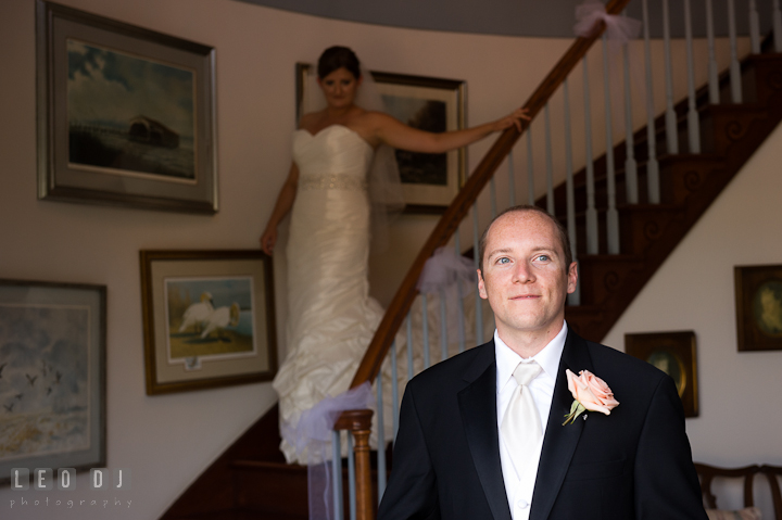 Bride coming down the stairs for first glance. Getting ready and ceremony wedding photos at private estate at Preston, Easton, Eastern Shore, Maryland by photographers of Leo Dj Photography. http://leodjphoto.com