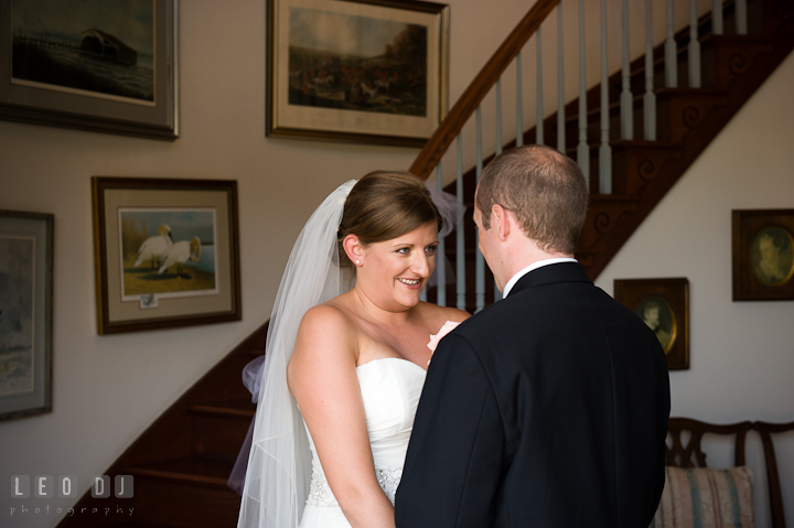 Bride and Groom seeing each other for the first time. Getting ready and ceremony wedding photos at private estate at Preston, Easton, Eastern Shore, Maryland by photographers of Leo Dj Photography. http://leodjphoto.com