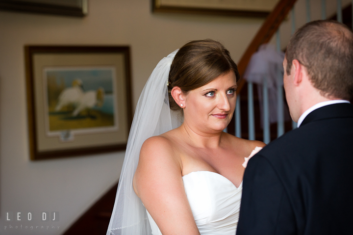 Bride teary eyed seeing Groom the first time. Getting ready and ceremony wedding photos at private estate at Preston, Easton, Eastern Shore, Maryland by photographers of Leo Dj Photography. http://leodjphoto.com