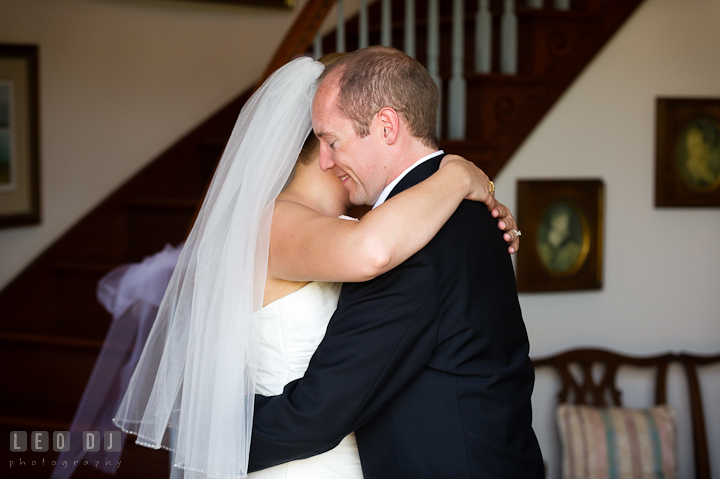 Bride and Groom hugging during first glance. Getting ready and ceremony wedding photos at private estate at Preston, Easton, Eastern Shore, Maryland by photographers of Leo Dj Photography. http://leodjphoto.com