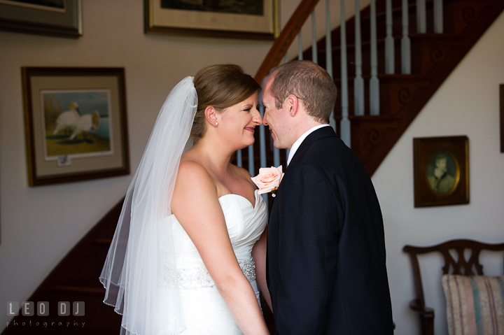 Bride and Groom touching their noses during first glance. Getting ready and ceremony wedding photos at private estate at Preston, Easton, Eastern Shore, Maryland by photographers of Leo Dj Photography. http://leodjphoto.com