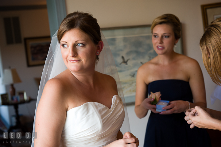 Bride and her Bridesmaid and Maid of Honor. Getting ready and ceremony wedding photos at private estate at Preston, Easton, Eastern Shore, Maryland by photographers of Leo Dj Photography. http://leodjphoto.com