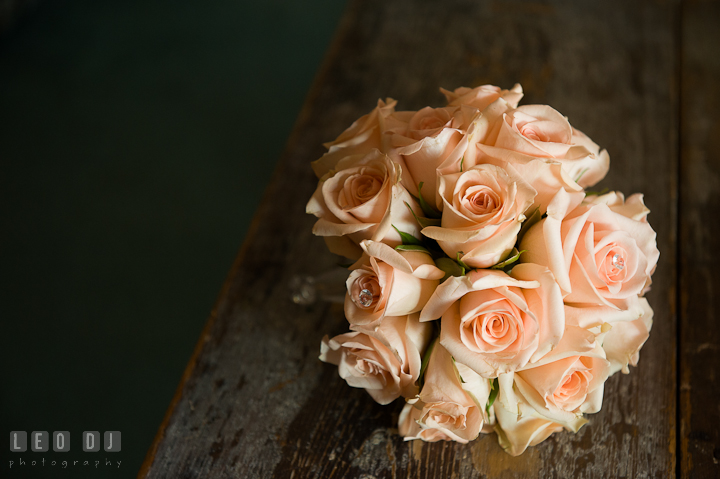 Rose flower bouquet for the Maid of Honor and Bridesmaids. Getting ready and ceremony wedding photos at private estate at Preston, Easton, Eastern Shore, Maryland by photographers of Leo Dj Photography. http://leodjphoto.com