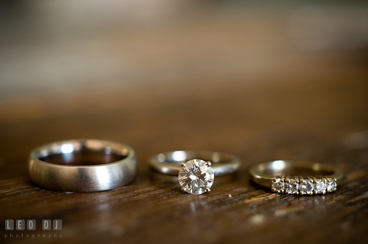 Wedding band, engagement ring, and wedding ring. Getting ready and ceremony wedding photos at private estate at Preston, Easton, Eastern Shore, Maryland by photographers of Leo Dj Photography. http://leodjphoto.com