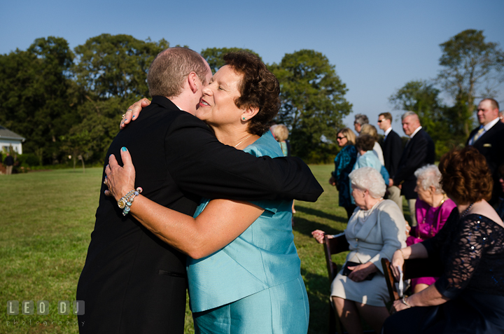 Mother of the Groom hugging son. Getting ready and ceremony wedding photos at private estate at Preston, Easton, Eastern Shore, Maryland by photographers of Leo Dj Photography. http://leodjphoto.com