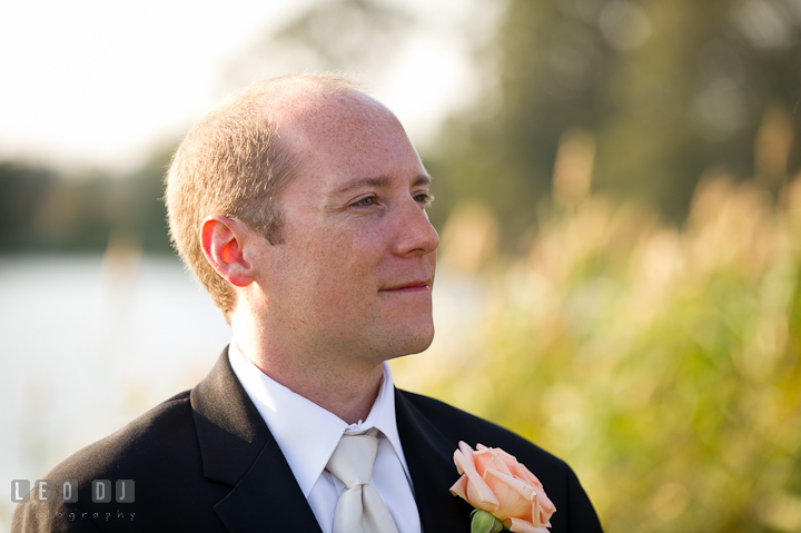 Groom seeing Bride walking down the isle. Getting ready and ceremony wedding photos at private estate at Preston, Easton, Eastern Shore, Maryland by photographers of Leo Dj Photography. http://leodjphoto.com