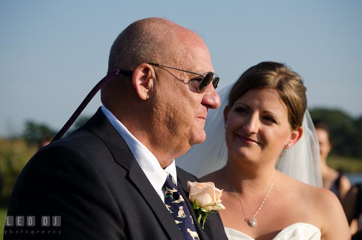 Father of the Bride emotional giving away his daughter. Getting ready and ceremony wedding photos at private estate at Preston, Easton, Eastern Shore, Maryland by photographers of Leo Dj Photography. http://leodjphoto.com