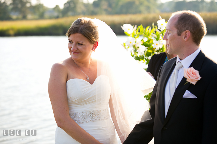 Bride emotional seeing her Dad shed a tear. Getting ready and ceremony wedding photos at private estate at Preston, Easton, Eastern Shore, Maryland by photographers of Leo Dj Photography. http://leodjphoto.com