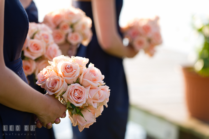 Rose floral bouquet for the Bridesmaids and Maid of Honor . Getting ready and ceremony wedding photos at private estate at Preston, Easton, Eastern Shore, Maryland by photographers of Leo Dj Photography. http://leodjphoto.com
