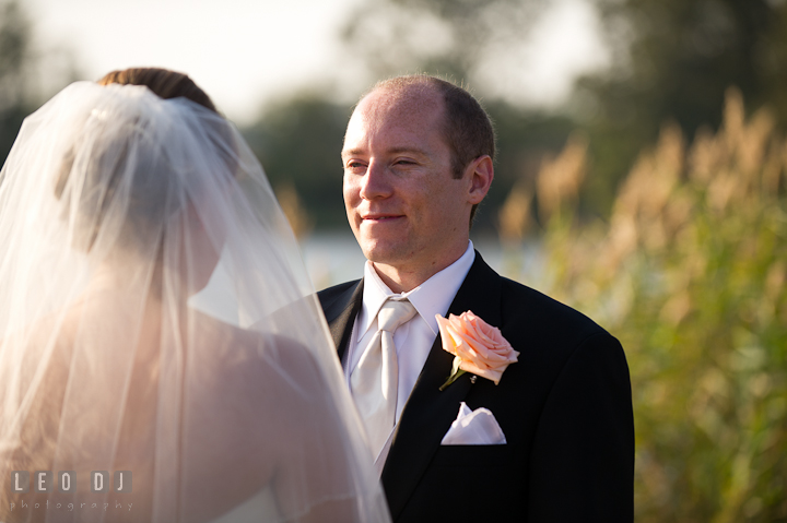 Groom seeing his Bride with lots of love. Getting ready and ceremony wedding photos at private estate at Preston, Easton, Eastern Shore, Maryland by photographers of Leo Dj Photography. http://leodjphoto.com