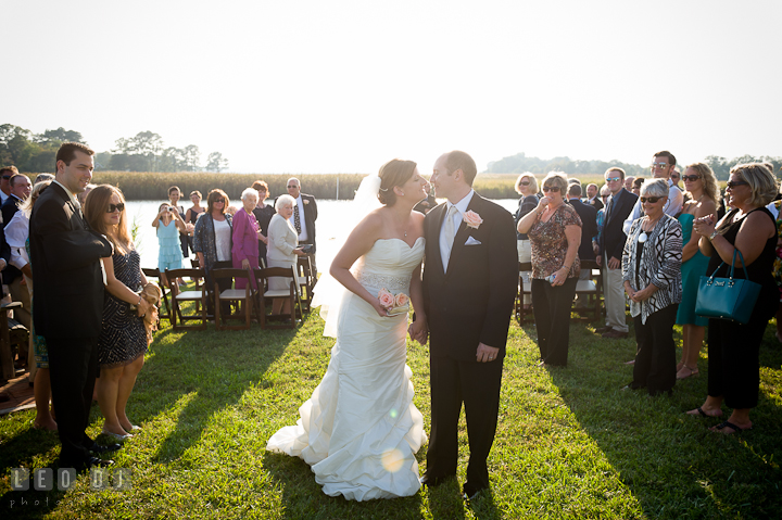 Bride and Groom almost kissed while walking out. Getting ready and ceremony wedding photos at private estate at Preston, Easton, Eastern Shore, Maryland by photographers of Leo Dj Photography. http://leodjphoto.com