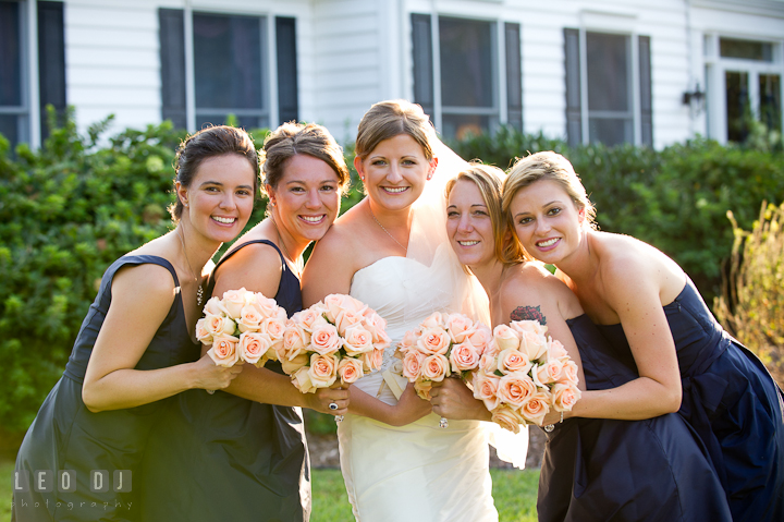 Bride, Maid and Matron of Honor, and Bridesmaids showing their flower bouquet. Reception party wedding photos at private estate at Preston, Easton, Eastern Shore, Maryland by photographers of Leo Dj Photography. http://leodjphoto.com