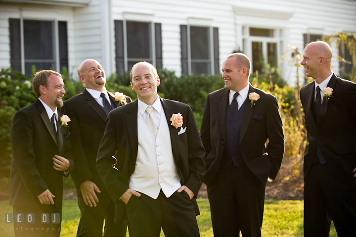 Groom, Best Men, and Groomsmen laughing. Reception party wedding photos at private estate at Preston, Easton, Eastern Shore, Maryland by photographers of Leo Dj Photography. http://leodjphoto.com