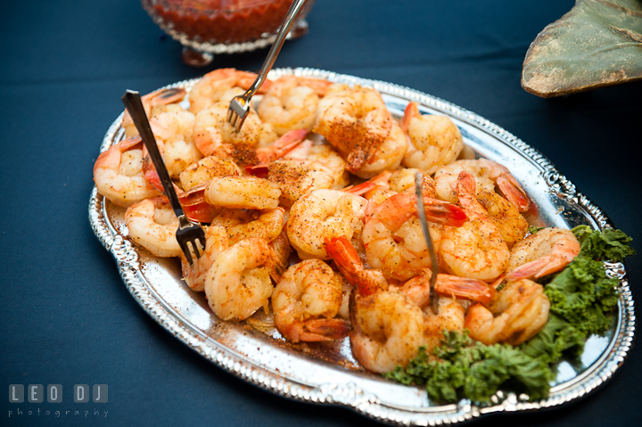 Steamed shrimp hor d'oeuvres with Old Bay Spice. Reception party wedding photos at private estate at Preston, Easton, Eastern Shore, Maryland by photographers of Leo Dj Photography. http://leodjphoto.com