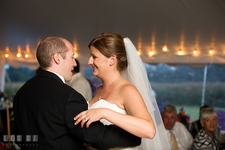 Bride and Groom's first dance. Reception party wedding photos at private estate at Preston, Easton, Eastern Shore, Maryland by photographers of Leo Dj Photography. http://leodjphoto.com
