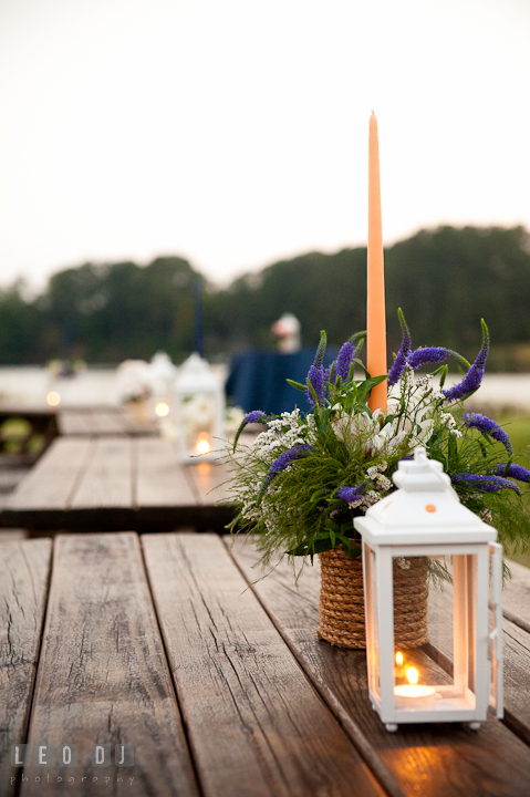 Flower, candle, and lantern table decorations. Reception party wedding photos at private estate at Preston, Easton, Eastern Shore, Maryland by photographers of Leo Dj Photography. http://leodjphoto.com