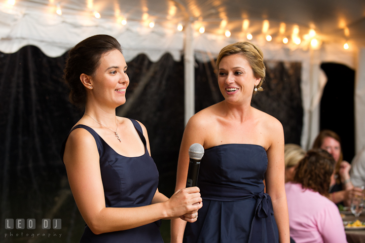 Maid and Matron of Honor delivering speech. Reception party wedding photos at private estate at Preston, Easton, Eastern Shore, Maryland by photographers of Leo Dj Photography. http://leodjphoto.com