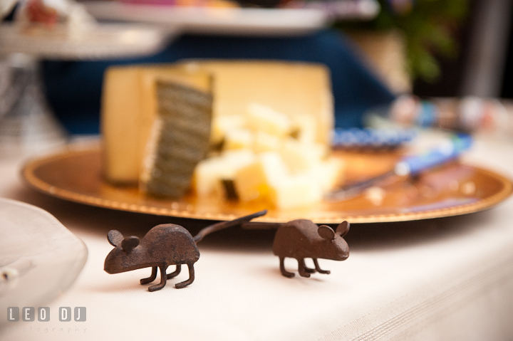 Metal mice decorations for cheese. Reception party wedding photos at private estate at Preston, Easton, Eastern Shore, Maryland by photographers of Leo Dj Photography. http://leodjphoto.com