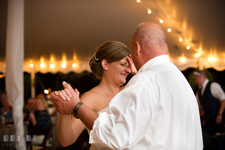 Father of the Bride and Daughter dance. Reception party wedding photos at private estate at Preston, Easton, Eastern Shore, Maryland by photographers of Leo Dj Photography. http://leodjphoto.com