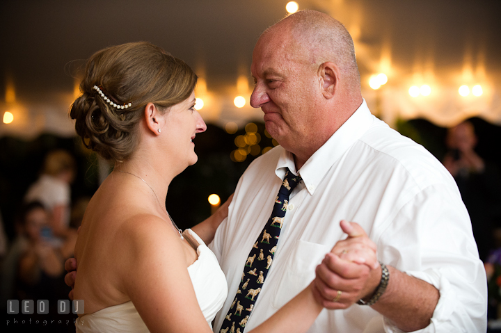 Bride dancing with her Father. Reception party wedding photos at private estate at Preston, Easton, Eastern Shore, Maryland by photographers of Leo Dj Photography. http://leodjphoto.com