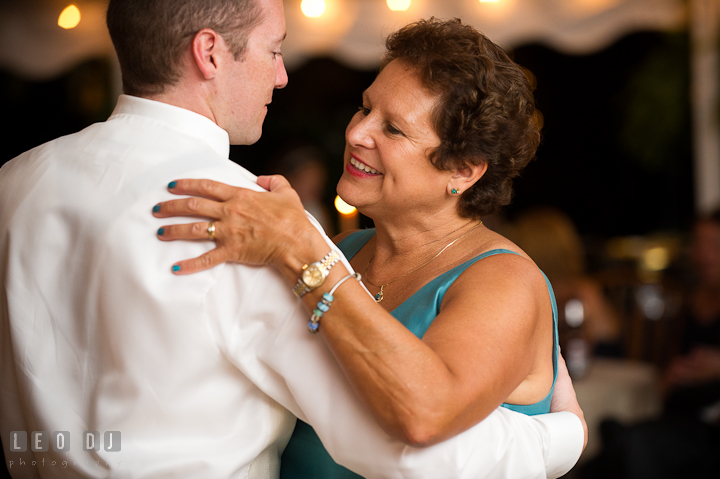 Mother of Groom and Son dance. Reception party wedding photos at private estate at Preston, Easton, Eastern Shore, Maryland by photographers of Leo Dj Photography. http://leodjphoto.com